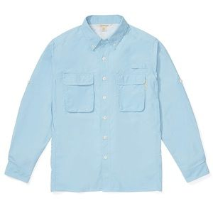 EXOFICCIO MENS BLUE AIRSTRIP LONG SLEEVE BUTTON UP